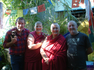 Gaz and Andy with two Buddhist Nuns at Buddha Shop Yackandandah